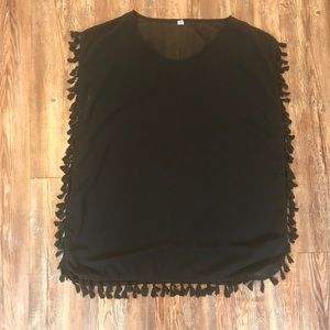 Sheer Black Tassel Short Coverup